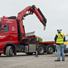 Hiab Lorry controlled by operator on the ground