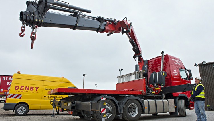 Hiab crane lorry in operation