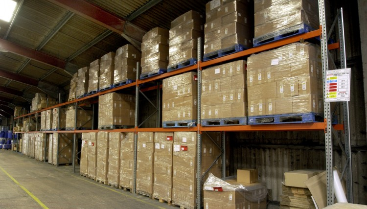 Racking in the warehouse.  We offer part or full warehouse rental